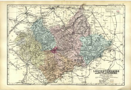 1891 Antique Map LEICESTERSHIRE And RUTLANDSHIRE Houses FARMS Railways STATIONS